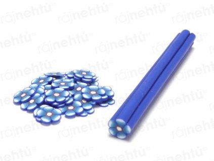 FIMO zdobenie - tyčinka, motív kvietok guľatý - modrá