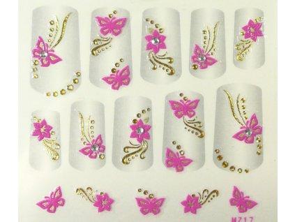 Samolepky na nechty 3D - ružové RZ3