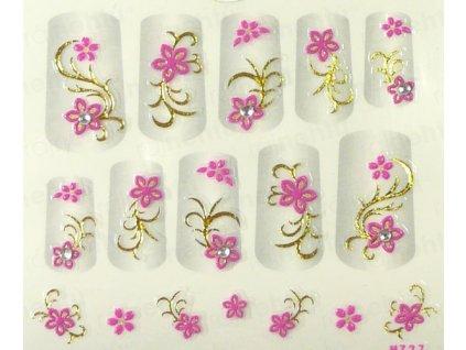 Samolepky na nechty 3D - ružové RZ4