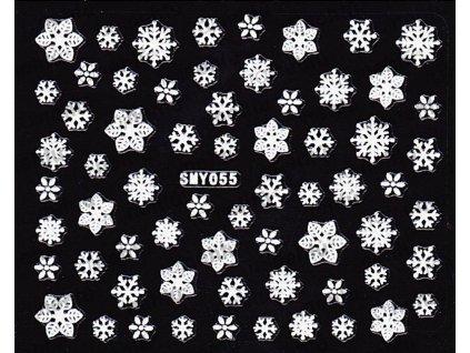 Samolepky na nechty 3D - Snehové vločky SMY55