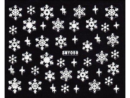 Samolepky na nechty 3D - Snehové vločky SMY59