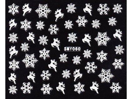 Samolepky na nechty 3D - Snehové vločky SMY60