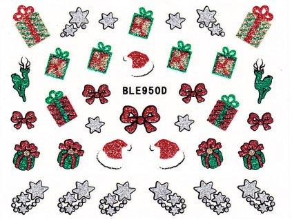 Samolepky na nechty glitrové Vianoce - 950D