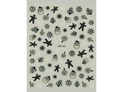 Samolepky na nechty 2D Vianoce - HC-22