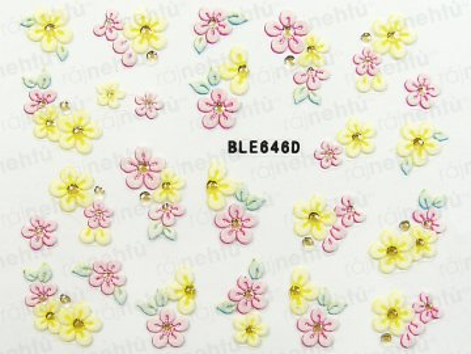Samolepky na nechty 3D - kvietka (646)