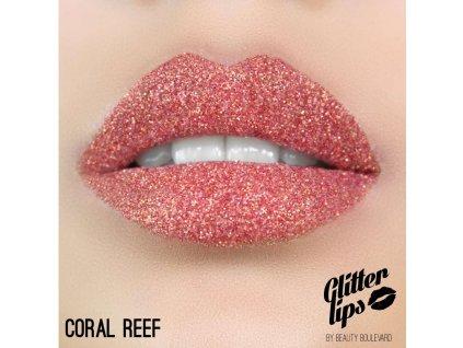 Glitter Lips, vodoodolné trblietky na pery - Coral Reef 3,5ml