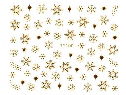 Samolepky na nechty 3D - Snehové vločky zlaté - TY100