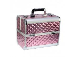 Kozmetický kufrík SENSE - 3D diamonds, ružový