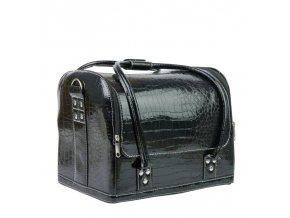 Kosmetický kufřík - koženka imitace krokodýl, černý