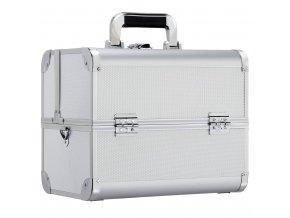 Kosmetický kufr LUXURY - s popruhem, stříbrný