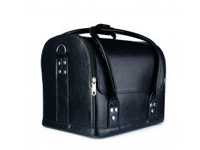 Kosmetický kufřík - koženka černo-černý