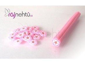FIMO zdobenie - tyčinka, motív kvietok - ružová