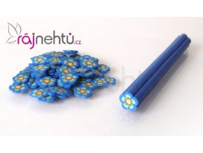FIMO zdobenie - tyčinka, motív kvietok - tmavo modrá