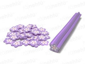 FIMO zdobenie - tyčinka, motív kvietok hviezdice - fialová