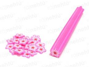 FIMO zdobenie - tyčinka, motív kvietok hviezdice - ružová