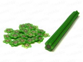 FIMO zdobenie - tyčinka, motív kvietok hviezdice - tmavo zelená