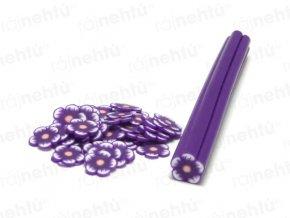 FIMO zdobenie - tyčinka, motív kvietok guľatý - fialová