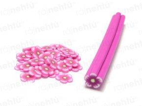 FIMO zdobenie - tyčinka, motív kvietok guľatý - ružová