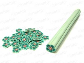 FIMO zdobenie - tyčinka, motív kvietok guľatý - zelená