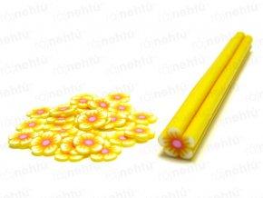 FIMO zdobenie - tyčinka, motív kvietok guľatý - žltá