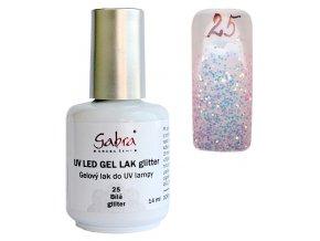 GABRA UV gél lak - Biela glitter