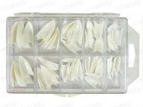 Raj nechtov - nechtové tipy Stiletto biele - veľ.0-9 - súprava - 100ks