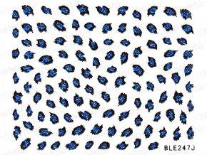 Samolepky na nechty - modré, leopard