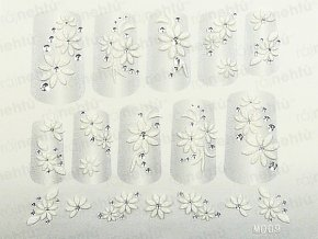 Samolepky na nechty 3D - biele B11