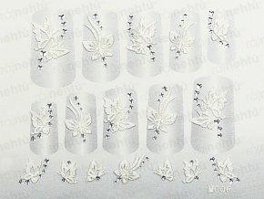 Samolepky na nechty 3D - biele B4