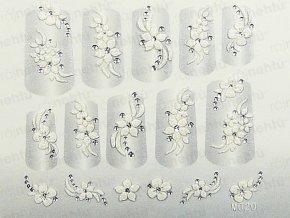 Samolepky na nechty 3D - biele B5