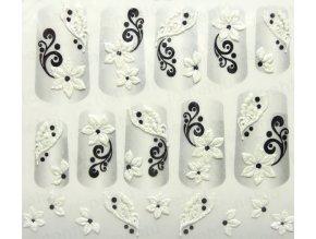 Samolepky na nechty 3D - čiernobiele CB6