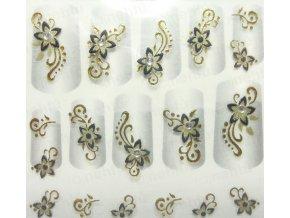 Samolepky na nechty 3D - čiernozlaté CZ2