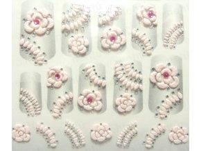 Samolepky na nechty 3D - ružové R2