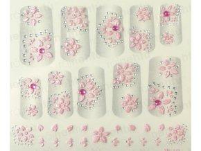 Samolepky na nechty 3D - ružové R4