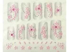 Samolepky na nechty 3D - ružové R6