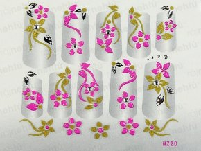 Samolepky na nechty 3D - ružové RS3