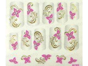 Samolepky na nechty 3D - ružové RZ2