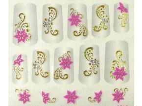 Samolepky na nechty 3D - ružové RZ5
