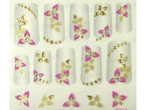 Samolepky na nechty 3D - ružové RZ6