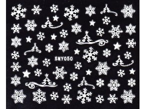 Samolepky na nechty 3D - Snehové vločky SMY50