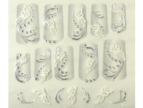 Samolepky na nechty 3D - strieborné S10