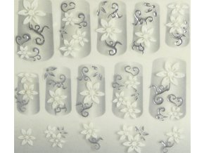 Samolepky na nechty 3D - strieborné S4