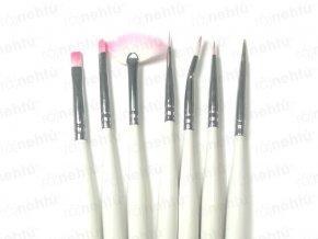Štetce na nechtovú modeláciu - súprava 7 ks - ružová