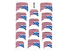 Samolepky na nechty 3D - Americká vlajka