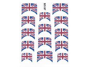 Samolepky na nechty 3D - Anglická vlajka