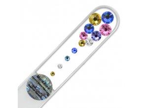 Pilník sklenený s kamienkami Swarovski - Blue-y-blue M-M4