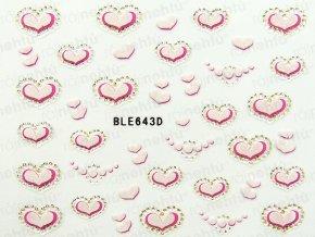 Samolepky na nechty 3D - srdiečka (643)