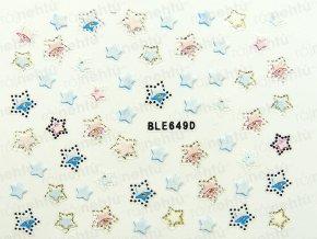 Samolepky na nechty 3D - hviezdy (649)