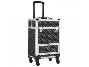 Kosmetický kufr LUXURY 2v1 - černý, se zásuvkou