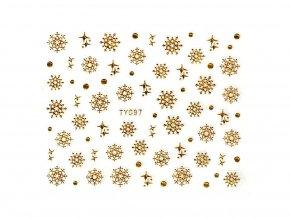 Samolepky na nechty 3D - Snehové vločky zlaté - TY097